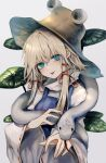1girl :p absurdres bangs blonde_hair blue_dress brown_headwear closed_mouth commentary crossed_bangs dress eyebrows_visible_through_hair hair_between_eyes hair_ribbon hands_up hat head_tilt highres long_sleeves looking_at_viewer maho_moco moriya_suwako pinafore_dress plant red_ribbon ribbon ribbon-trimmed_sleeves ribbon_trim shirt short_hair_with_long_locks simple_background smile snake solo tongue tongue_out touhou upper_body white_background white_shirt white_snake wide_sleeves