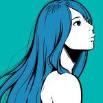 1girl aqua_background aqua_theme black_eyes blue_hair flat_color highres long_hair original profile shadow simple_background smile solo upper_body yoshi_mi_yoshi