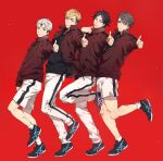 4boys black_hair black_shirt blonde_hair brothers expressionless eyebrows full_body grey_hair grin haikyuu!! hand_up height_difference jacket kita_shinsuke long_sleeves looking_at_viewer male_focus miya_atsumu miya_osamu multicolored_hair multiple_boys nokgaknk open_clothes open_jacket pants parted_lips red_background shirt shoes shorts siblings smile sneakers standing standing_on_one_leg suna_rintarou teeth thumbs_up track_jacket track_pants twins two-tone_hair