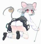 1girl :/ animal_ear_fluff animal_ears ass black_dress bloomers blue_capelet blush capelet dowsing_rod dress from_behind full_body grey_hair highres holding_rod kneeling mouse mouse_ears mouse_tail nazrin pink_eyes renakobonb simple_background solo tail thighs touhou underwear upskirt white_background