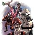 2boys 2others birdo black_shirt elbow_pads facial_hair food gas_mask goggles green_headwear holding holding_food holding_knife holding_vegetable jumpsuit junny knee_pads knife looking_up luigi male_focus mario mario_(series) mask monster multiple_boys multiple_others mustache open_mouth orange_jumpsuit phanto realistic red_headwear saliva shaded_face shirt shy_guy snifit stubble super_mario_bros._2 vegetable white_jumpsuit
