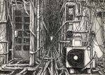 absurdres air_conditioner alley bottle box cable commentary_request crosshatching door greyscale hatching_(texture) highres ibsukionsen monochrome no_humans original pipes scenery too_many traditional_media water_bottle