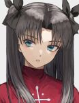 1girl bangs black_bow black_hair blue_eyes bow commentary_request eyebrows_visible_through_hair fagi_(kakikaki) fate/stay_night fate_(series) grey_background hair_bow hair_ribbon long_hair looking_at_viewer parted_bangs parted_lips red_sweater ribbon shiny shiny_hair simple_background solo sweater teeth tohsaka_rin two_side_up upper_body