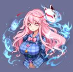 1girl bangs blue_shirt bow bowtie breasts circle collared_shirt cropped_torso cross eyebrows_visible_through_hair fox_mask hata_no_kokoro large_breasts long_hair long_sleeves looking_at_viewer mask navel open_mouth pink_bow pink_eyes pink_hair pink_neckwear plaid plaid_shirt raptor7 shirt simple_background solo star_(symbol) touhou triangle upper_body