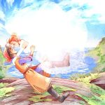 1boy 1girl atom_(@tom) bandana blue_sky boots brown_hair couple dragon_quest dragon_quest_viii dress happy hero_(dq8) jessica_albert jumping looking_at_another ocean sky smile spoilers water wedding_dress