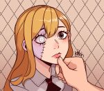 1girl 1other black_neckwear brown_eyes collared_shirt colored_skin disembodied_limb hair_between_eyes hand_on_another's_chin highres kingpaca long_hair multicolored multicolored_skin orange_hair original shirt stitched_face stitches two-tone_skin white_eyes zombie