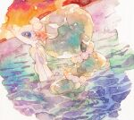 closed_mouth from_side gen_7_pokemon no_humans oharu-chan outdoors partially_submerged pokemon pokemon_(creature) primarina sky smile sparkle traditional_media twilight water watercolor_(medium)
