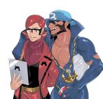 2boys anchor_necklace archie_(pokemon) arm_behind_back beard belt black_eyes blue_bandana brown_hair commentary_request cup disposable_cup drinking_straw facial_hair glasses green_(grimy) highres holding male_focus maxie_(pokemon) multiple_boys open_mouth pectorals pokemon pokemon_(game) pokemon_oras redhead smile sweater team_aqua team_magma teeth tongue turtleneck turtleneck_sweater wetsuit yellow_belt