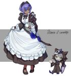 1girl absurdres alternate_costume apron badge black_dress blush character_name dark-skinned_female dark_skin dress enmaided fate/grand_order fate/prototype fate/prototype:_fragments_of_blue_and_silver fate_(series) flower frilled_apron frilled_dress frills full_body gloves hair_flower hair_ornament hassan_of_serenity_(fate) highres hwoking maid maid_apron puffy_sleeves purple_hair solo violet_eyes white_apron white_gloves