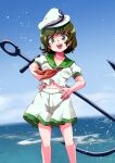 1990s_(style) 1girl anchor anchor_symbol blue_sky breasts green_eyes hands_on_hips hat highres hits_(hitstts) looking_at_viewer murasa_minamitsu ocean open_mouth red_neckwear retro_artstyle sailor sailor_collar sailor_hat sailor_shirt shirt short_hair shorts sky smile solo touhou white_shorts