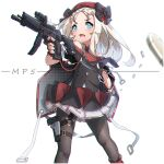1girl bangs beret black_bow black_cape black_dress black_gloves black_legwear blue_eyes blush bow bullet cape character_name commentary_request dress fingerless_gloves forehead girls_frontline gloves gun h&k_mp5 handgun hat highres holding holding_gun holding_weapon holster kuro_kosyou long_hair looking_away looking_to_the_side mp5_(girls_frontline) necktie object_namesake open_mouth pantyhose parted_bangs pistol pleated_skirt polka_dot_cape red_headwear red_neckwear simple_background skirt solo submachine_gun thigh_holster unmoving_pattern v-shaped_eyebrows weapon white_background white_hair white_skirt