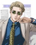 1boy absurdres background_text blue_shirt blurry brown_hair brown_jacket brown_suit closed_mouth collared_shirt commentary depth_of_field english_commentary formal glasses green-tinted_eyewear hand_up highres jacket jujutsu_kaisen lips long_sleeves looking_at_viewer male_focus nanami_kento necktie newspaper opaque_glasses partially_opaque_glasses round_eyewear shirt short_hair solo suit sunglasses thisuserisalive upper_body watch watch white_background yellow_neckwear