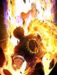 3boys black_collar black_jacket black_sleeves collar fire flaming_hand from_behind gloves grabbing highres jacket kusanagi_kyou multiple_boys neck_lift official_art orochi_(kof) purple_fire pyrokinesis school_uniform snk the_king_of_fighters the_king_of_fighters_'97 the_king_of_fighters_all-stars yagami_iori