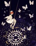 1girl angel_wings barefoot bug butterfly crown dress fish highres insect looking_back orange_hair original short_hair solo sparkle star_(symbol) strapless strapless_dress surreal swing swinging tono_(rt0no) white_dress wings