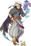 1boy amethyst_(gemstone) aqua_shirt armlet artist_request asymmetrical_bangs baggy_pants bangle bangs beard belt black_eyes black_hair blank_eyes blue_headwear bracelet brown_cape brown_footwear cape circlet clenched_hand crown dark-skinned_male dark_skin eyebrows_visible_through_hair facial_hair fire full_body gem glowing glowing_eyes gold grey_pants grin hair_tie half-closed_eyes hand_in_pocket hand_up happy hat highres holding janini_(world_flipper) jewelry looking_at_viewer male_focus moldiaga_(world_flipper) mustache non-web_source official_art oil_lamp open_mouth orange_legwear pants parachute_pants pointy_footwear pouch purple_fire ring shiny shiny_hair shirt shoes short_hair single_sleeve smile socks spirit striped striped_pants teeth tied_hair transparent_background two-sided_cape two-sided_fabric v-shaped_eyebrows violet_eyes water white_headwear world_flipper