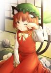 1girl ;< ;3 absurdres animal_ear_fluff animal_ears blush bow bowtie brown_eyes brown_hair cat_ears cat_tail chen day dress flat_chest gold_trim hand_up hat highres indoors jewelry juliet_sleeves long_sleeves looking_at_viewer mob_cap multiple_tails nekomata one_eye_closed puffy_sleeves red_dress short_hair single_earring sitting solo tail tatami touhou two_tails wariza yarn yarn_ball yu_cha
