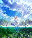 2girls black_hair blue_eyes blue_sky brown_hair clouds cloudy_sky commentary_request day dress flower high_heels highres holding_hands interlocked_fingers long_hair looking_away mocha_(cotton) multiple_girls original outdoors partially_underwater_shot petals profile puffy_short_sleeves puffy_sleeves sandals scenery short_sleeves signature sky standing tree twitter_username water white_dress white_flower white_footwear