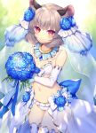 1girl animal_ears bangs bikini blue_capelet blue_flower bouquet bow breasts bridal_veil capelet closed_mouth commission cowboy_shot elbow_gloves eyebrows_visible_through_hair flower gloves grey_hair hair_flower hair_ornament holding holding_bouquet jewelry looking_at_viewer mouse_ears navel nazrin outdoors pendant red_eyes short_hair skeb_commission small_breasts smile solo standing swimsuit thigh-highs tomobe_kinuko touhou veil wedding white_bikini white_bow white_gloves white_legwear