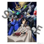 1boy artist_request black_gloves black_hair blue_hair clenched_hands cloak earth_(planet) fingerless_gloves gloves gundam gundam_build_divers gundam_build_divers_re:rise jupiter_(planet) kuga_hiroto looking_up male_focus mecha mobile_suit official_art open_hand planet re:rising_gundam sample saturn_(planet) science_fiction smile space super_robot v-fin watermark