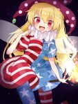 1girl american_flag_dress american_flag_legwear black_background blonde_hair blush clownpiece cowboy_shot dress fairy_wings fire hat highres holding jester_cap long_hair looking_at_viewer neck_ruff open_mouth pantyhose polka_dot purple_headwear red_eyes short_sleeves simple_background smile solo star_(symbol) star_print striped suikario torch touhou transparent_wings very_long_hair wings