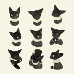 :3 animal animal_focus black_cat black_headwear black_shirt cat closed_eyes clothed_animal collared_shirt expressions hands_on_own_face hands_together hat kitten no_humans original shirt simple_background slit_pupils smile tono_(rt0no) top_hat yellow_eyes