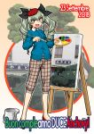 1girl :d anchovy_(girls_und_panzer) anzio_(emblem) bangs beret black_ribbon blue_cardigan brown_eyes brown_pants canvas_(object) capri_pants cardigan carro_armato_p40 casual character_name collared_shirt commentary_request dated drill_hair easel emblem eyebrows_visible_through_hair flats girls_und_panzer green_hair ground_vehicle hair_ribbon happy_birthday hat holding holding_paintbrush italian_text long_hair long_sleeves looking_at_viewer military military_vehicle motor_vehicle ooarai_(ibaraki) oosaka_kanagawa open_mouth paintbrush painting palette pants plaid plaid_pants red_footwear red_headwear ribbon shirt signature smile solo standing tank tilted_headwear translated twin_drills twintails white_shirt