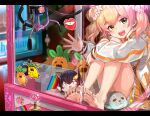 1girl arcade bangs barefoot blonde_hair blush bow bowtie crane_game double_bun fang flower frilled_skirt frills gradient_hair green_eyes hair_flower hair_ornament highres hololive huge_filesize jacket layered_skirt long_hair looking_at_viewer miniskirt momosuzu_nene multicolored_hair nekko_(momosuzu_nene) ookami_mio open_mouth orange_skirt pink_hair skirt soles sticker stuffed_animal stuffed_toy toy two_side_up upper_teeth virtual_youtuber waving white_jacket yoshikawa_hiro