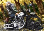 1girl ano_hito autumn biker_clothes bird checkered club_(shape) commentary_request denim engine english_text falling_leaves flower ground_vehicle jacket jeans leaf leather leather_jacket license_plate long_hair looking_at_viewer looking_back motor_vehicle motorcycle original pants silver_hair sitting sitting_on_object tree union_jack