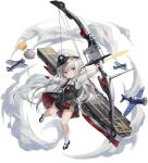 1girl aircraft airplane azur_lane bangs bird black_footwear bow_(weapon) chick child collared_shirt compound_bow douya_(233) f4f_wildcat flight_deck full_body grey_eyes hat highres kneehighs little_enterprise_(azur_lane) long_hair long_sleeves manjuu_(azur_lane) mary_janes official_art overall_skirt peaked_cap rigging sbd_dauntless shirt shoes silver_hair solo transparent_background very_long_hair weapon white_headwear white_legwear white_shirt younger