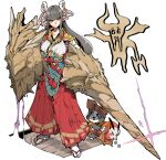 1girl bangs black_gloves black_hair blunt_bangs breasts cat closed_mouth eyebrows_visible_through_hair felyne gloves hair_ornament hakama_pants japanese_clothes kafun long_hair looking_at_viewer minoto monster_hunter_(series) monster_hunter_rise pointy_ears polearm sidelocks solo spear weapon yellow_eyes