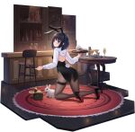 1girl acasta_(azur_lane) acasta_(monochromatic_marvel)_(azur_lane) alcohol allenes animal_ears azur_lane bar black_footwear blue_eyes bunny_tail carpet cocktail_glass cup drinking_glass fake_tail from_behind high_heels highres kneeling looking_at_viewer looking_back manjuu_(azur_lane) medium_hair official_alternate_costume official_art pantyhose rabbit rabbit_ears round_table shoes sleeve_cuffs solo tail thigh_strap transparent_background white_sleeves