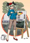 1girl :d anchovy_(girls_und_panzer) anzio_(emblem) bangs beret black_ribbon blue_cardigan brown_eyes brown_pants canvas_(object) capri_pants cardigan carro_armato_p40 casual character_name collared_shirt commentary_request drill_hair easel emblem eyebrows_visible_through_hair flats girls_und_panzer green_hair ground_vehicle hair_ribbon hat holding holding_paintbrush long_hair long_sleeves looking_at_viewer military military_vehicle motor_vehicle ooarai_(ibaraki) oosaka_kanagawa open_mouth paintbrush painting palette pants partial_commentary plaid plaid_pants red_footwear red_headwear ribbon shirt signature smile solo standing tank textless tilted_headwear twin_drills twintails white_shirt