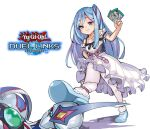 1boy 1girl aqua_footwear blue_hair card copyright_name dress elemental_hero_neos frilled_dress frills holding holding_card long_hair multicolored_hair shadow shoes smile stepped_on streaked_hair tamagokake_candy violet_eyes white_background white_dress white_legwear witchcraft_master_verre yu-gi-oh! yu-gi-oh!_duel_links