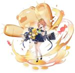 1girl artillery azur_lane bare_shoulders beargguy_iii black_footwear blue_ribbon blue_skirt candy food full_body high_ponytail highres holding holding_toy long_hair looking_at_viewer miniskirt morrison_(azur_lane) off-shoulder_shirt off_shoulder official_art orange_eyes orange_hair ribbon rigging shirt skirt socks solo suisai thigh_strap torpedo_tubes toy transparent_background white_legwear white_shirt