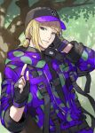 1boy backpack bag bangs baseball_cap belt black_gloves blonde_hair buttons chorefuji closed_mouth commentary_request day fingerless_gloves gloves green_eyes hair_tie hat index_finger_raised looking_at_viewer male_focus outdoors rook_hunt smile solo tied_hair tree twisted_wonderland