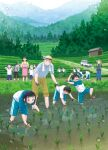 6+boys 6+girls absurdres bangs bent_over black_hair blunt_bangs day dirty dirty_clothes dirty_face food frog glasses grey_hair gym_uniform hat highres long_hair mud multiple_boys multiple_girls onigiri open_mouth original outdoors ponytail rice_paddy rice_planting running short_hair smile standing taka_(tsmix) tree
