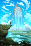 1boy absurdres anato_finnstark blonde_hair blue_sky castle clouds cloudy_sky commentary day english_commentary facing_away from_behind grass highres huge_filesize link outdoors scenery shield sky solo standing the_legend_of_zelda very_wide_shot