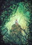 1girl absurdres anato_finnstark cape commentary covered_face day english_commentary facing_viewer forest green_theme highres horns indian_style mask mononoke_hime nature outdoors san sitting solo white_cape
