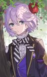 1boy apple bangs bow bowtie buttons chorefuji closed_mouth commentary_request day diagonal-striped_neckwear diagonal_stripes epel_felmier eyelashes food fruit green_eyes hair_between_eyes hand_up jacket leaf long_sleeves male_focus open_clothes open_jacket outdoors purple_hair purple_vest shirt short_hair solo striped striped_neckwear tree twisted_wonderland upper_body vest white_shirt