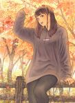 1girl autumn autumn_leaves black_legwear brown_hair falling_leaves fence forest highres hood hoodie leaf leggings long_hair looking_at_viewer makki_(tobaccos) maple_leaf nature original sitting_on_fence smile solo traditional_media tree wooden_fence