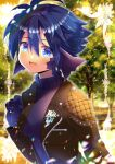 1girl :d au_ra bangs blue_eyes blue_hair blurry blurry_background breasts brown_jacket commentary_request depth_of_field eyebrows_visible_through_hair final_fantasy final_fantasy_xiv gloves hair_between_eyes hand_up head_fins jacket kouu_hiyoyo looking_at_viewer medium_breasts open_clothes open_jacket open_mouth original purple_gloves purple_sweater scales short_hair smile solo sweater turtleneck turtleneck_sweater