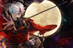 black_gloves closed_mouth dated earrings final_fantasy final_fantasy_xiv full_moon gloves heterochromia highres holding holding_sword holding_weapon hyur jacket jewelry katana looking_at_viewer moon negative_space pigeon666 red_eyes red_jacket samurai_(final_fantasy) scabbard scar scar_across_eye scar_on_face scar_on_nose sheath short_hair signature single_glove sword two-handed unsheathed upper_body weapon white_eyes white_hair