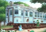 2girls arm_up backpack backpack_removed bag blue_eyes blue_hair blue_shirt blue_skirt boots box calcmis_gowa day eye_contact flat_cap flower green_footwear green_hair green_headwear green_shirt green_skirt ground_vehicle hair_bobbles hair_ornament hand_on_hip hat highres kawashiro_nitori key looking_at_another multiple_girls on_ground open_mouth outdoors pointing railroad_tracks rust shirt short_hair sideways_mouth sitting skirt sleeveless sleeveless_shirt standing toolbox touhou train tree two_side_up wide_shot yamashiro_takane