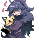 1girl @_@ ahoge bangs blush commentary_request dress fang flying_sweatdrops gen_7_pokemon hair_between_eyes hairband heart hex_maniac_(pokemon) highres holding holding_pokemon hyou_(hyouga617) long_hair messy_hair mimikyu open_mouth pokemon pokemon_(creature) pokemon_(game) pokemon_xy purple_dress purple_hairband simple_background smile tongue violet_eyes white_background