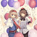 2girls ;d alice_margatroid alternate_hair_color arms_up balloon bangs belt black_neckwear black_skirt blonde_hair blue_dress blue_eyes bow bowtie brown_hair capelet confetti cowboy_shot dress eyebrows_visible_through_hair hairband hat highres holding holding_balloon lolita_hairband looking_at_viewer mixed-language_commentary multiple_girls neck_ribbon one_eye_closed ookashippo open_mouth pom_pom_(clothes) puffy_short_sleeves puffy_sleeves red_eyes red_headwear red_neckwear ribbon sash shameimaru_aya shirt short_hair short_sleeves skirt smile standing tokin_hat touhou untucked_shirt white_background white_capelet white_shirt