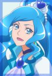 1girl ascot blue_background blue_dress blue_neckwear blue_theme blue_vest brooch cure_fontaine dress earrings eyebrows forehead hair_ornament healin'_good_precure heart heart_hair_ornament highres jewelry long_hair looking_at_viewer magical_girl miyabi_mt-b open_mouth pom_pom_(clothes) pom_pom_earrings portrait precure puffy_short_sleeves puffy_sleeves sawaizumi_chiyu short_sleeves smile solo split_ponytail twitter_username upper_body vest