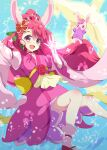 1girl :d animal_ears blue_background commentary_request cure_grace floating_hair glowing hair_ornament hanadera_nodoka hand_up healin'_good_precure heart high_ponytail highres jacket japanese_clothes kimono long_hair long_sleeves looking_at_viewer magical_girl open_mouth outstretched_arm pink_kimono ponytail precure purple_jacket rabbit_ears rabirin_(precure) red_footwear redhead smile socks tsuyukina_fuzuki very_long_hair violet_eyes white_legwear wide_sleeves zouri