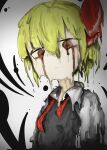 1girl absurdres blonde_hair blood bloody_tears highres looking_at_viewer looking_down melting red_eyes red_ribbon ribbon rumia short_hair solo touhou youtube_snh