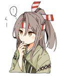 1girl brown_hair cropped_torso green_kimono hachimaki headband highres hinata_hibari japanese_clothes kantai_collection kimono long_hair looking_to_the_side muneate simple_background solo white_background zuihou_(kancolle)