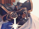 alphamon armor blue_cape cape commentary_request curtains digimon digimon_(creature) emphasis_lines energy horns kira_(kira_dra) looking_at_viewer no_humans shoulder_armor simple_background sitting solo twitter_username two-sided_cape two-sided_fabric white_background white_cape yellow_eyes